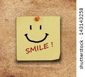 text smile on  note paper and... | Shutterstock . vector #143143258