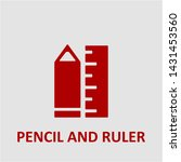 filled pencil and ruler icon.... | Shutterstock .eps vector #1431453560