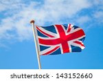 Uk Flag In The Blue Sky