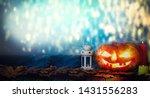 halloween pumpkin in a spooky... | Shutterstock . vector #1431556283