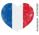 France Heart Retro Flag