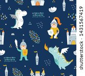 childish seamless pattern with... | Shutterstock .eps vector #1431567419