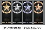 set of black banners  gold ... | Shutterstock .eps vector #1431586799