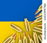 rifle bullets on ukrainian flag.... | Shutterstock .eps vector #1431599780