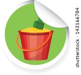 sticker with cartoon bucket... | Shutterstock .eps vector #143166784