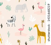 seamless childish pattern with... | Shutterstock .eps vector #1431668219