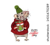 little mouse in a red knitted... | Shutterstock .eps vector #1431670289