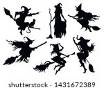 set of black silhouettes of... | Shutterstock .eps vector #1431672389