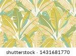 jungle palm tree leaves pattern.... | Shutterstock .eps vector #1431681770