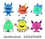 set of cute different cartoon...   Shutterstock . vector #1431692609
