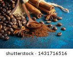coffee grains scattered on a... | Shutterstock . vector #1431716516