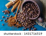 coffee grains pouring out of a... | Shutterstock . vector #1431716519