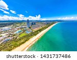 Landmark Buildings of Luxurious Resort and Water Park, Sitting by the Beautiful Coast of Haitang Bay, Sanya, Hainan, the Only Tropical Island Tourism Destination in China. Aerial View.