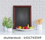 mock up blackboard frame with... | Shutterstock . vector #1431743549