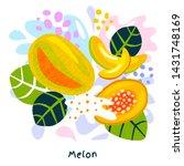 fresh ripe melon fruits juice... | Shutterstock .eps vector #1431748169