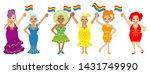 six drag queens holding rainbow ...   Shutterstock .eps vector #1431749990