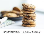 Chocolate Cookies Closeup On...