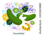 fresh green cucumber vegetable... | Shutterstock .eps vector #1431823880