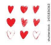 red hand drawn grunge hearts...   Shutterstock .eps vector #1431836363