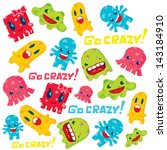 cute monsters pattern design.... | Shutterstock .eps vector #143184910