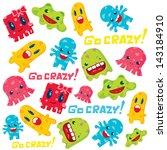 cute monsters pattern design.... | Shutterstock .eps vector #143184910