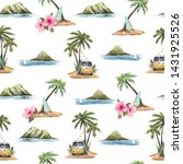 watercolor summer tropical... | Shutterstock . vector #1431925526