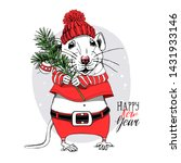 cartoon little mouse in a red...   Shutterstock .eps vector #1431933146