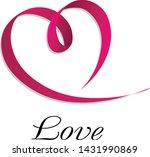 pink ribbon in heart shape.... | Shutterstock .eps vector #1431990869