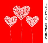 hearts shape vector on red... | Shutterstock .eps vector #1431992513
