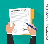 insurance policy contract in... | Shutterstock .eps vector #1432001189