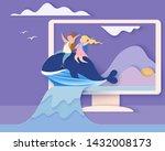 back to school 1 september card.... | Shutterstock . vector #1432008173