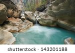 One of the waterfalls on the Marshyangdi river in Nepal, Annapurna Region - stock photo