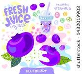 fresh juice organic glass cute... | Shutterstock .eps vector #1432019903