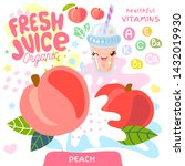 fresh juice organic glass cute... | Shutterstock .eps vector #1432019930