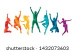 colorful happy group people... | Shutterstock .eps vector #1432073603