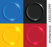 shiny glass round buttons set   Shutterstock .eps vector #1432131299