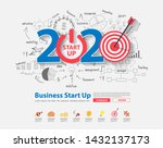2020 new year startup and... | Shutterstock .eps vector #1432137173