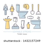 toilet icons. vector...