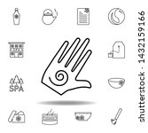 hand with spiral symbol outline ...