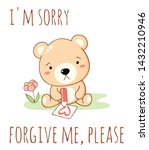 cute sad cartoon bear draws a... | Shutterstock .eps vector #1432210946