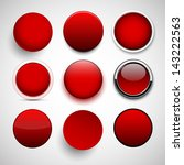 set of blank red round buttons...   Shutterstock .eps vector #143222563
