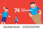 Indonesia traditional games during independence day, children racing inside sack to competition each other. celebration of freedom. - Vector