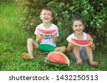 happy little child girl and boy ... | Shutterstock . vector #1432250513
