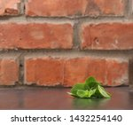 green mint leaves on wooden... | Shutterstock . vector #1432254140