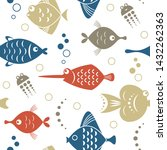 seamless pattern with fishes ... | Shutterstock .eps vector #1432262363