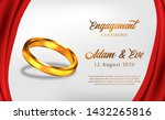 3d golden ring with red curtain ...   Shutterstock .eps vector #1432265816