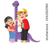 the boy is measuring his sister ...   Shutterstock .eps vector #1432302983