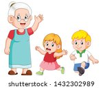 the grandmother is taking care... | Shutterstock .eps vector #1432302989