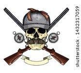hand drawn sketch  color skull... | Shutterstock .eps vector #1432317059