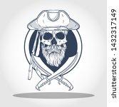 hand drawn sketch  pirate skull ... | Shutterstock .eps vector #1432317149